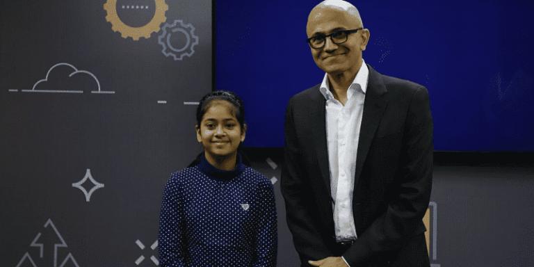 Namya Joshi with Microsoft CEO Satya Nadella