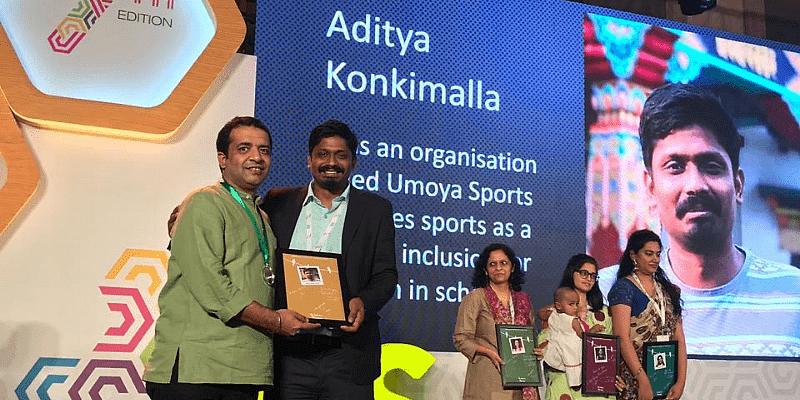 Aditya won an award for his efforts as part of Umaya Sports.