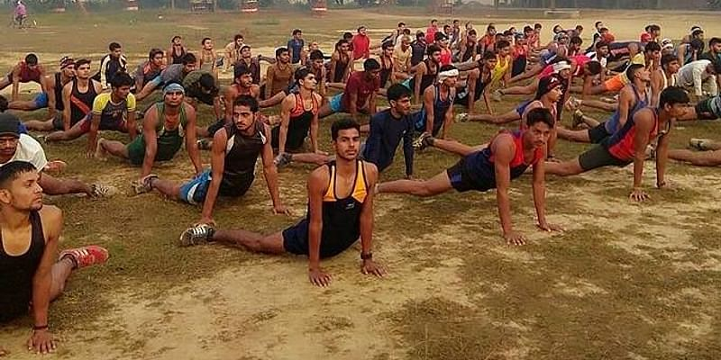 Retired hero Amit Gupta 'Aryan' while training youth in the field (Photo courtesy: Amit Aryan)