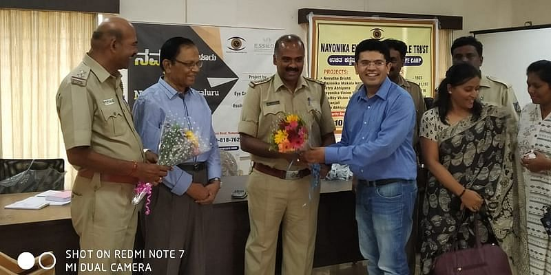 Dr. Veeranna, former IMA President and Inspector Mithun inaugurates the eye camp
