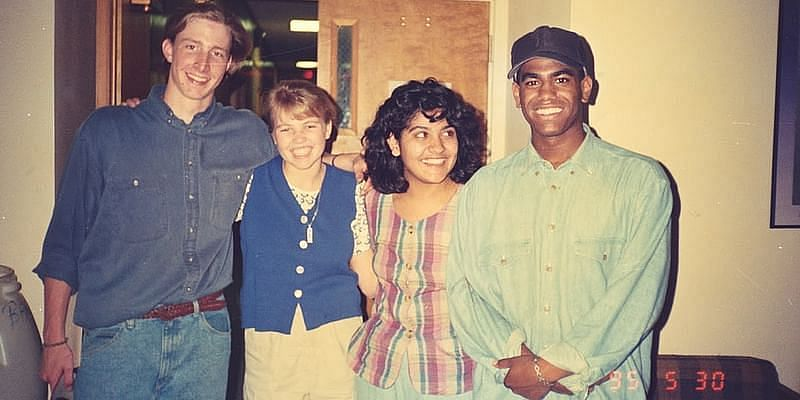 Natasha (second from right) with classmates at Asheville School in North Carolina.