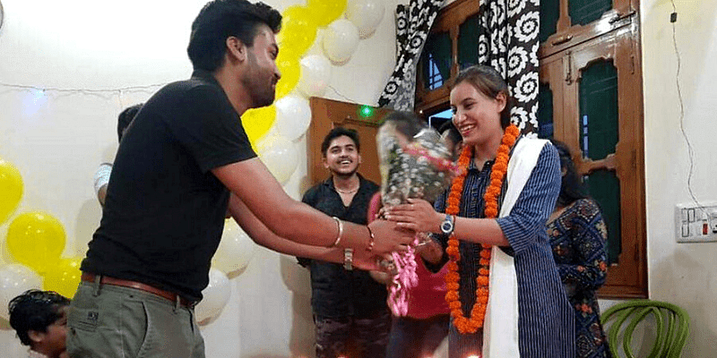 (Kumari Priyanka is being congratulated for clearing the UPSC exam. Picture courtesy: Times of India)