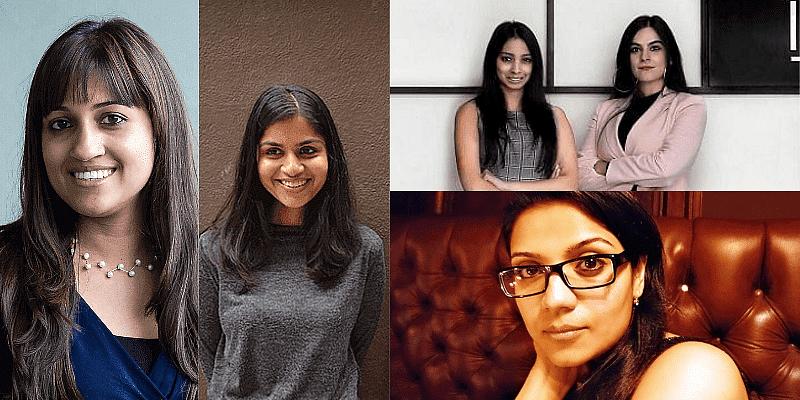(L to R Clockwise) BYJU'S co-founder Divya Gokulnath;  NIRA co-founder Nupur Gupta;  Shivani Poddar and Tanvi Malik, co-founders of High Street Essential;  Aditi Awasthi, Founder of Embiab
