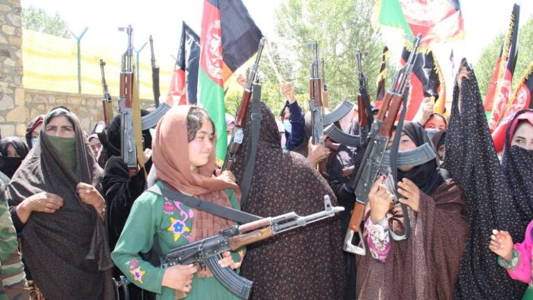 The army ran away in fear, the women took up arms, rocket launchers and rifles ready to expel the Taliban