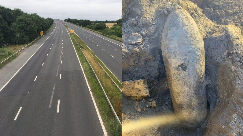 UK: Excavator workers found a 'live' bomb of World War II, the area was evacuated, roads were closed and no-fly zone declared