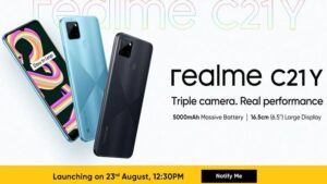 Realme C21Y smartphone to launch on August 23 with triple cameras and 5000mAh battery