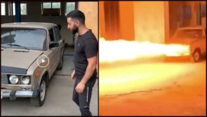 Seeing this old sedan car started spewing fire up to 20 feet, you will also be shocked after seeing VIDEO